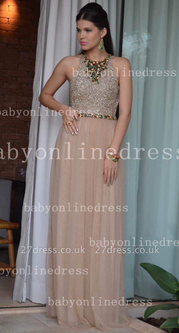 Elegant Sexy Vestido Formal Party Dress UKes UK Colorful A-Line Chiffon Crew Evening Dress UKes UK With Beaded Crystals