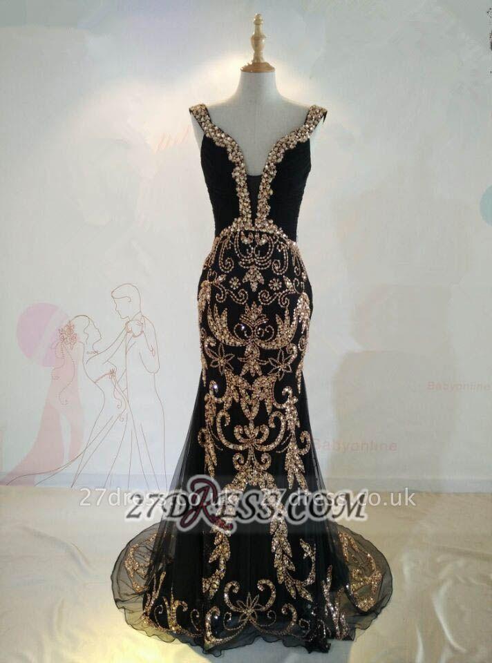 Elegant Black V-Neck Mermaid Prom Dress UK Beadings Crystals Sweep Train Evening Gowns