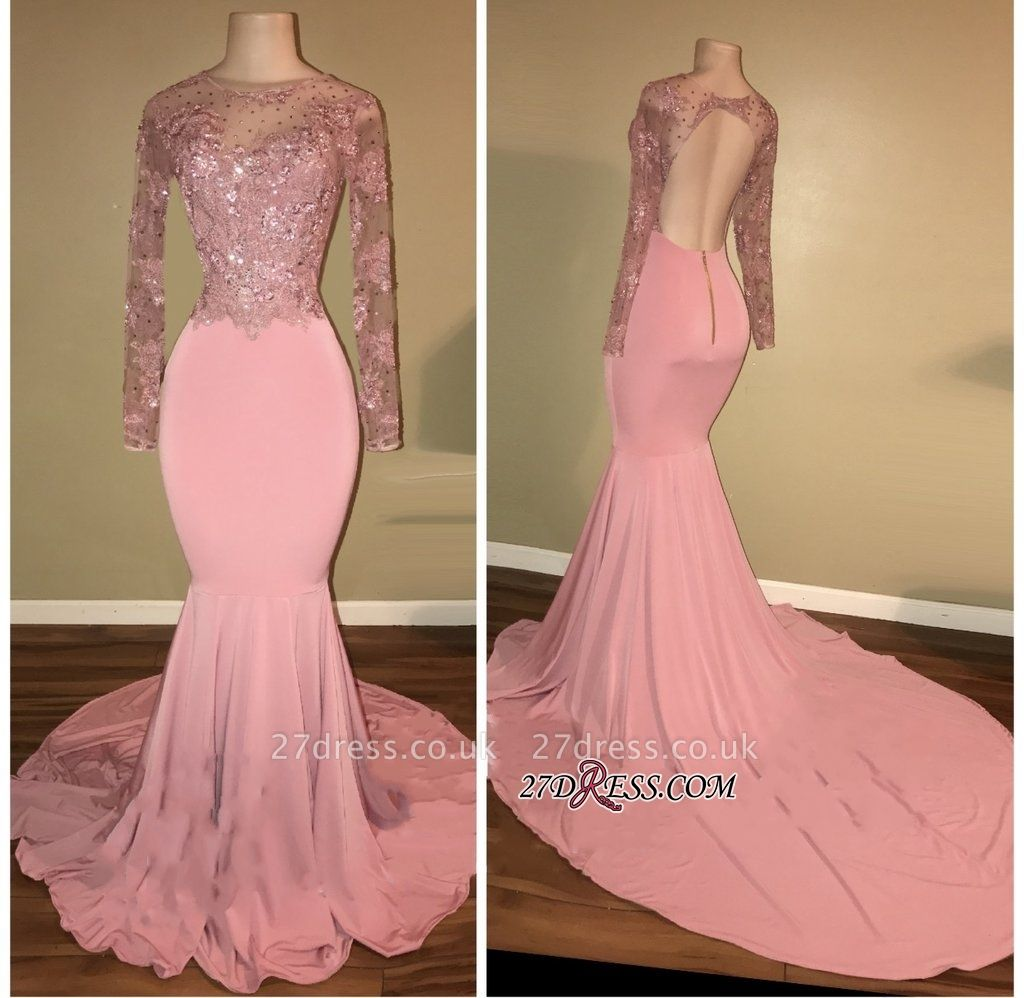 Pink prom Dress UK, long sleeve lace evening gowns RM0