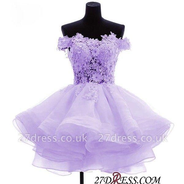 Short Flowers Ruffles Cute Off-the-Shoulder Homecoming Dress UK