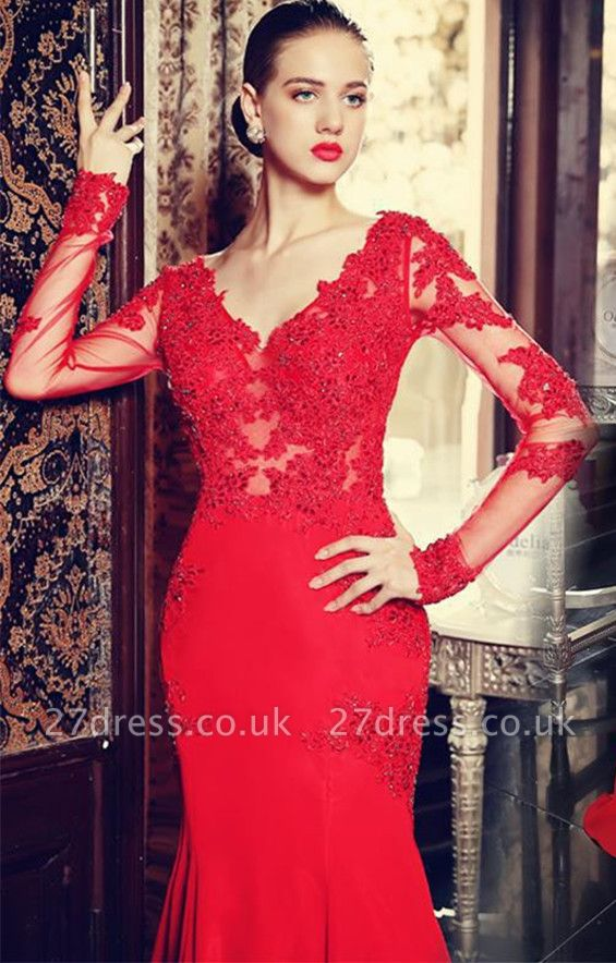Elegant red long sleeve mermaid prom Dress UK with lace appliques sweep train