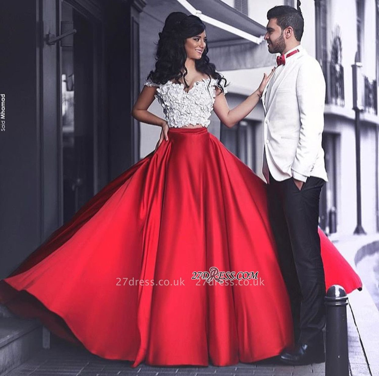 Lace Sexy Red Off-the-Shoulder Appliques Evening Dress UK