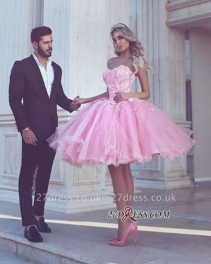 Short Appliues Pink Sweetheart-Neck Ball-Gown Homecoming Dress UKes UK