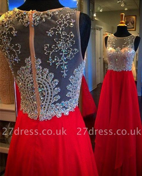 Sparkly Sleeveless Red Crystal Beadings Evening Dress UK Long chiffon Floor Length