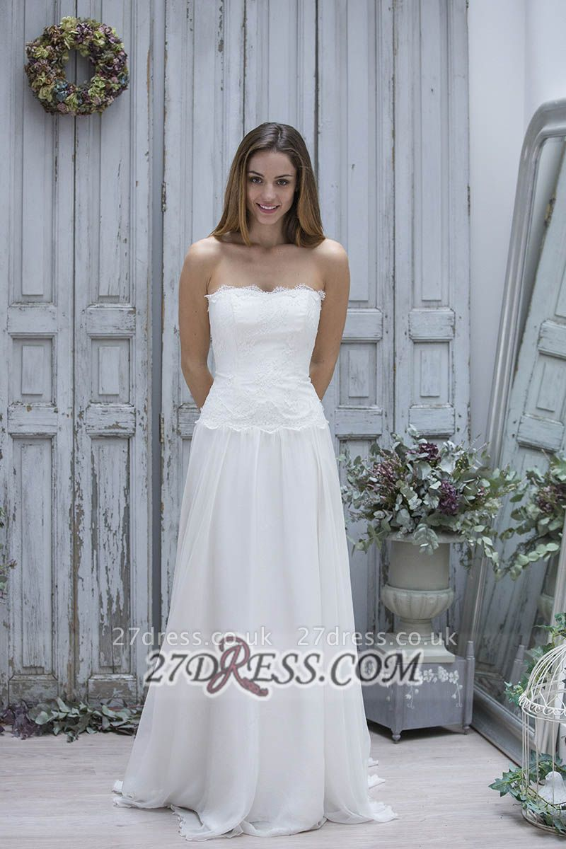 Sexy Straight Across Sleeveless Chiffon Prom Dress UK With Lace Floor-length
