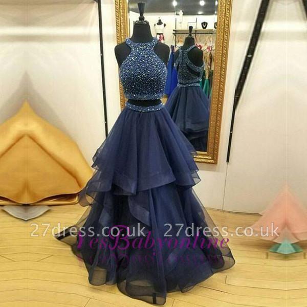 Two-Piece Modest Jewel Zipper Sleeveless Ruffles Crystals Prom Dress UK