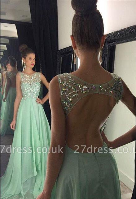 Newest Chiffon Beadings A-line Prom Dress UK Illusion Sweep Train AP0