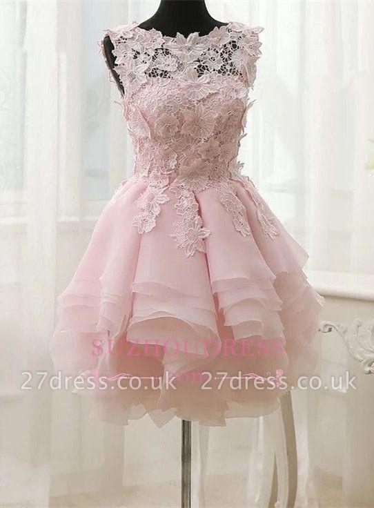 Short Straps Cute Sleeveless Flowers Ruffles Homecoming Dress UK