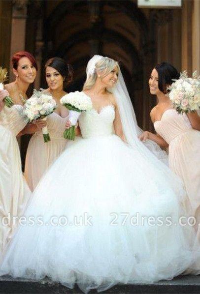 Newest White Tulle Lace Beadss Wedding Dress Sweetheart Sleeveless BA1408