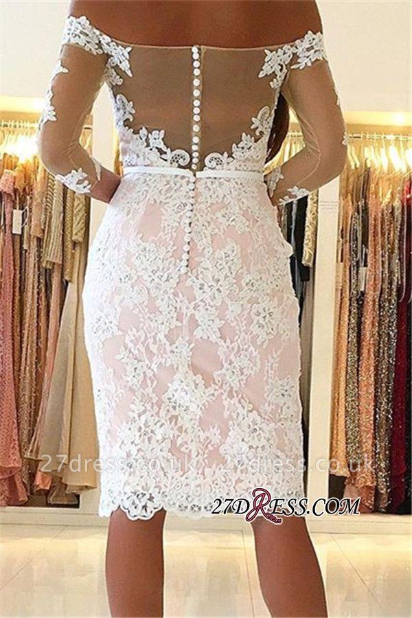 Off-the-Shoulder Long-Sleeves Appliques Sheath Pink Elegant Homecoming Dress UK qq0363