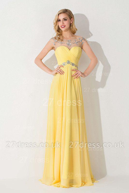 Delicate Illusion Cap Sleeve Evening Dress UK Yellow Chiffon