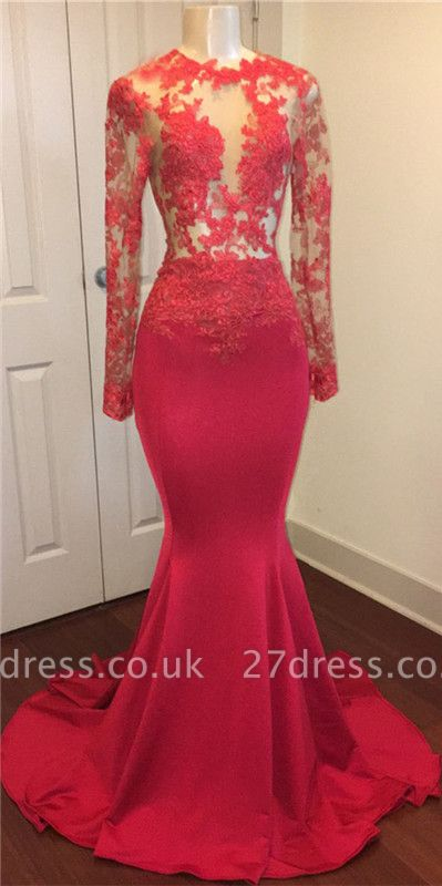 Red lace mermaid prom Dress UK, long evening gowns online