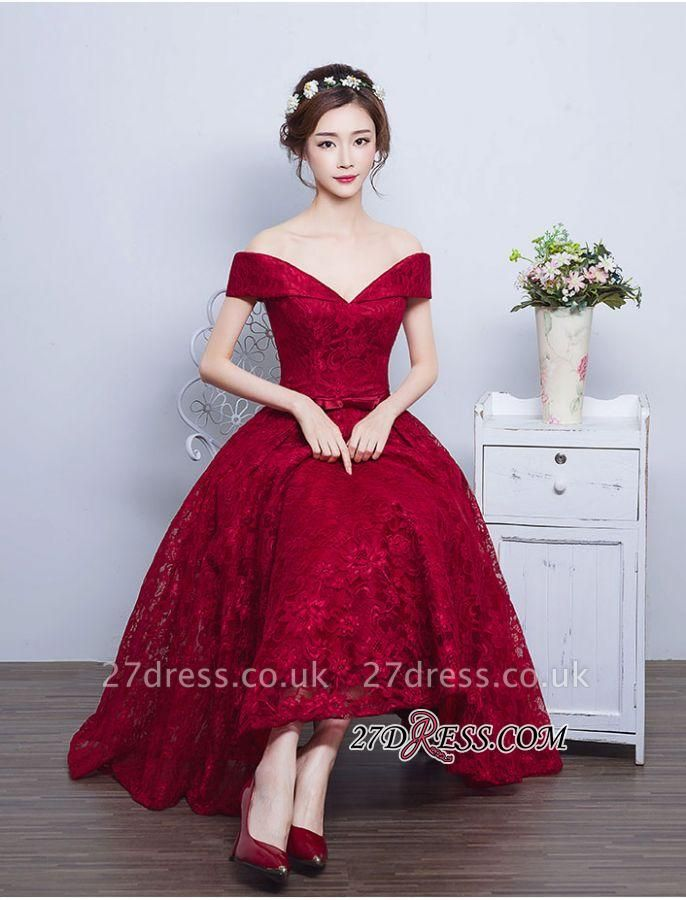 Burgundy Off-the-Shoulder A-line Lace Vintage Tea-Length Prom Dress UKes UK BA4449