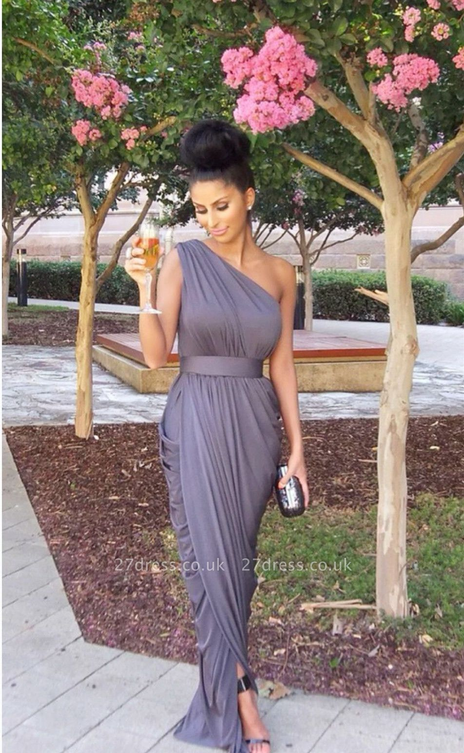 Modern One-shoulder Empire Bridesmaid Dress UK Floor-length With Beadings