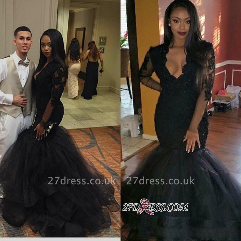 Elegant Sweep-Train Black V-neck Long-sleeve Lace Mermaid Prom Dress UK BA4816