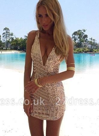 Sequins V-Neck Sleeveless Elegant Short Homecoming Dress UK