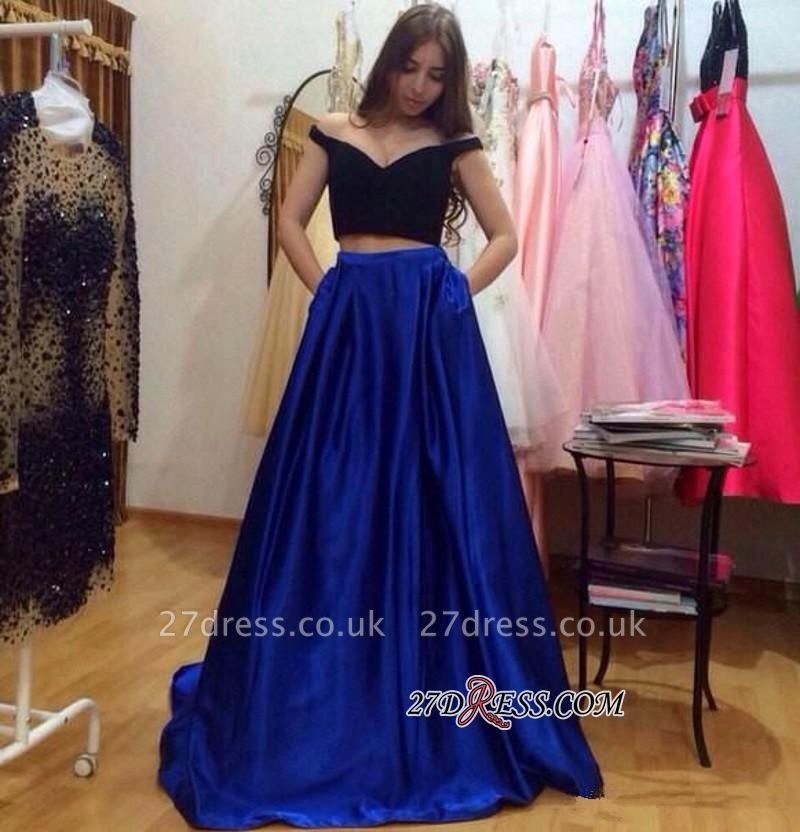 A-Line Gorgeous Off-the-Shoulder Pockets Two-Pieces Prom Dress UKes UK