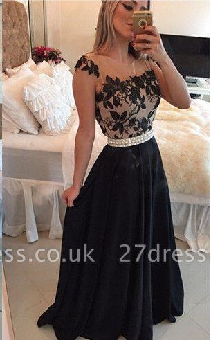 Sexy Square Chiffon Black Prom Dress UK Appliques Pearls BT0