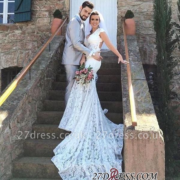 Elegant V-Neck Sexy Mermaid Sleeveless Open-Back Lace Wedding Dress