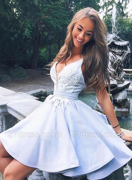 Cute Straps A-line Lace Ruffles Short Homecoming Dress UK