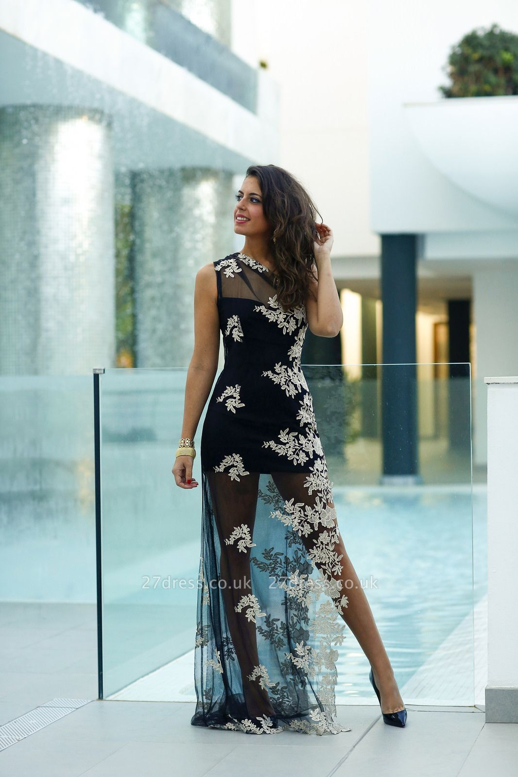 Elegant Tulle Appliques Bodycon Prom Dress UK One Shoulder Sweep Train