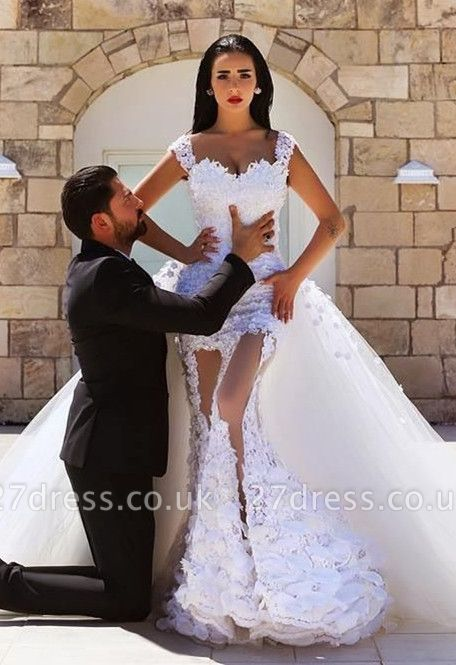 Gorgeous Lace Appliques Wedding Dress Tulle Train Cap Sleeve