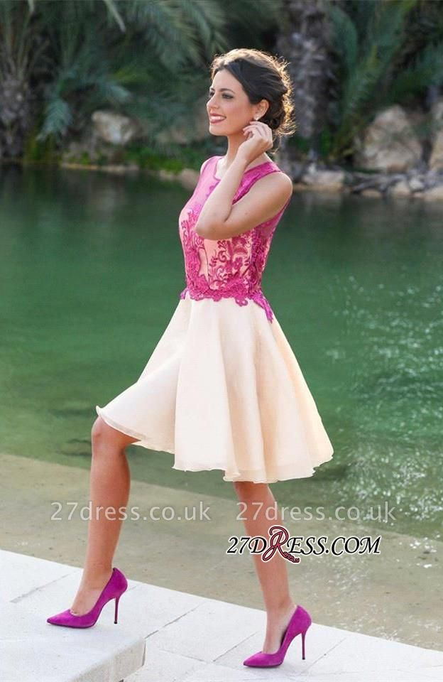 Short Sleeveless Fuchsia lovely Appliques Chiffon Lace Homecoming Dress UK