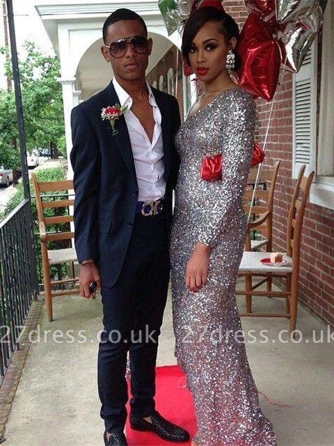 Bling Bling Long Sleeve Sequins Evening Dress UKes UK Long Floor Length