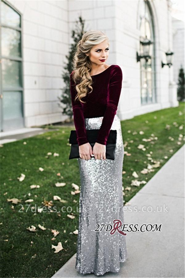Sleeves Sequins Sheath Burgundy Latest Long Winter Silver Velvet Evening Dress UKes UK BA3601