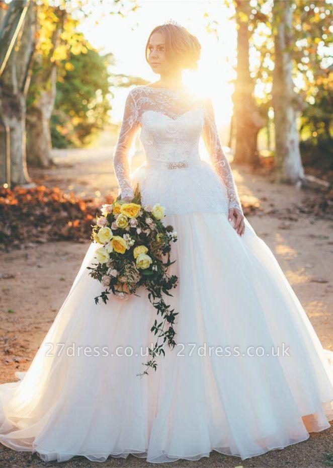 Gorgeous Long Sleeve Lace Wedding Dresses UK Princess Open Back