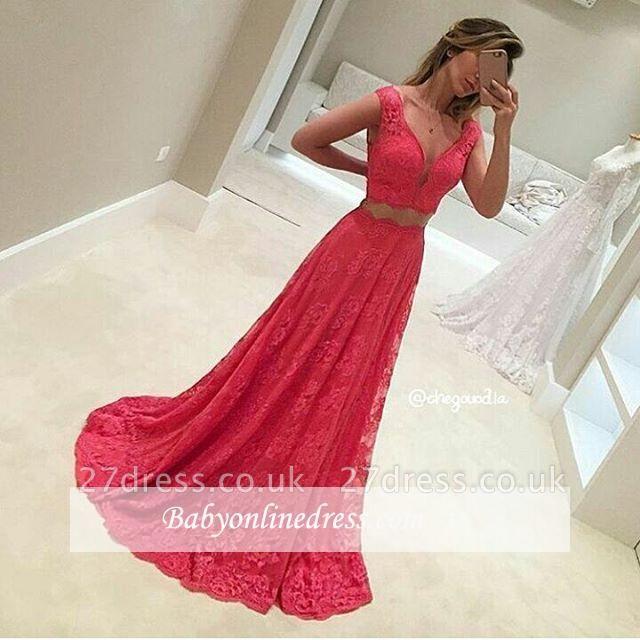 Two-Piece V-Neck Sleeveless Long Red Lace Mermaid Prom Dress UKes UK