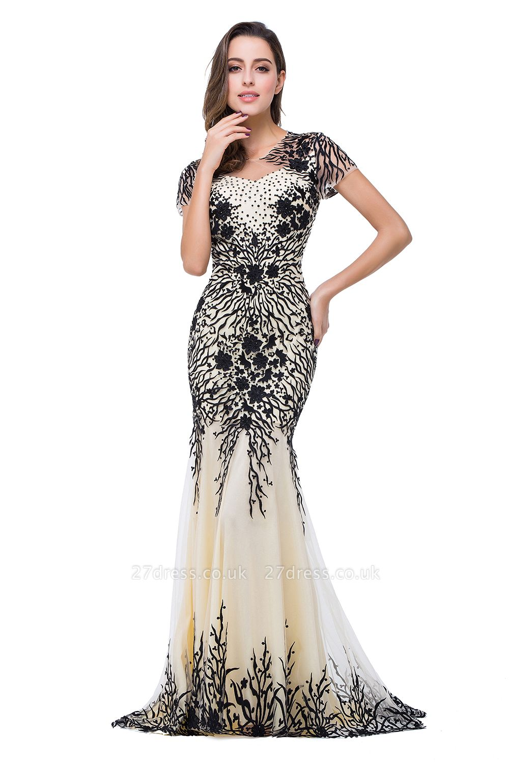 Sparkly Cap Sleeve Mother Of the Bride Dress UK Appliques Mermaid Evening Gown