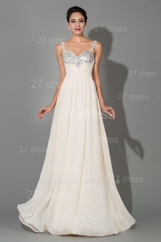 Modern Chiffon A-line Sequins Prom Dress UK Spaghetti Strap