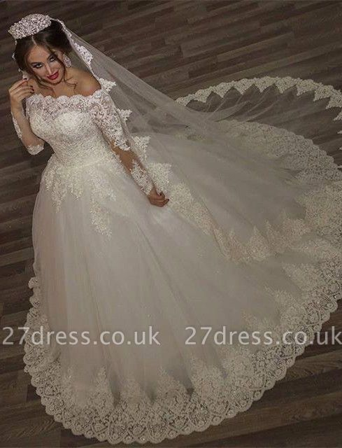 Princess off-the-shoulder Long Sleeve Wedding Dress lace Ball Gown Tulle