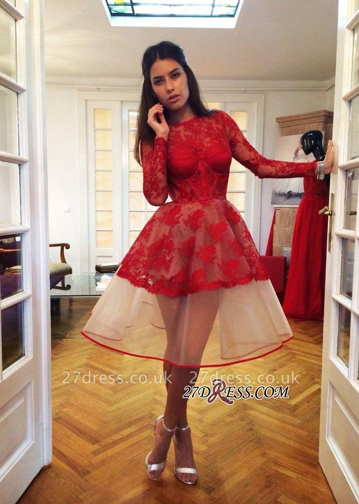 Long-Sleeve Popular Charming Red Sheer Lace Appliques Homecoming Dress UKes UK BA7239
