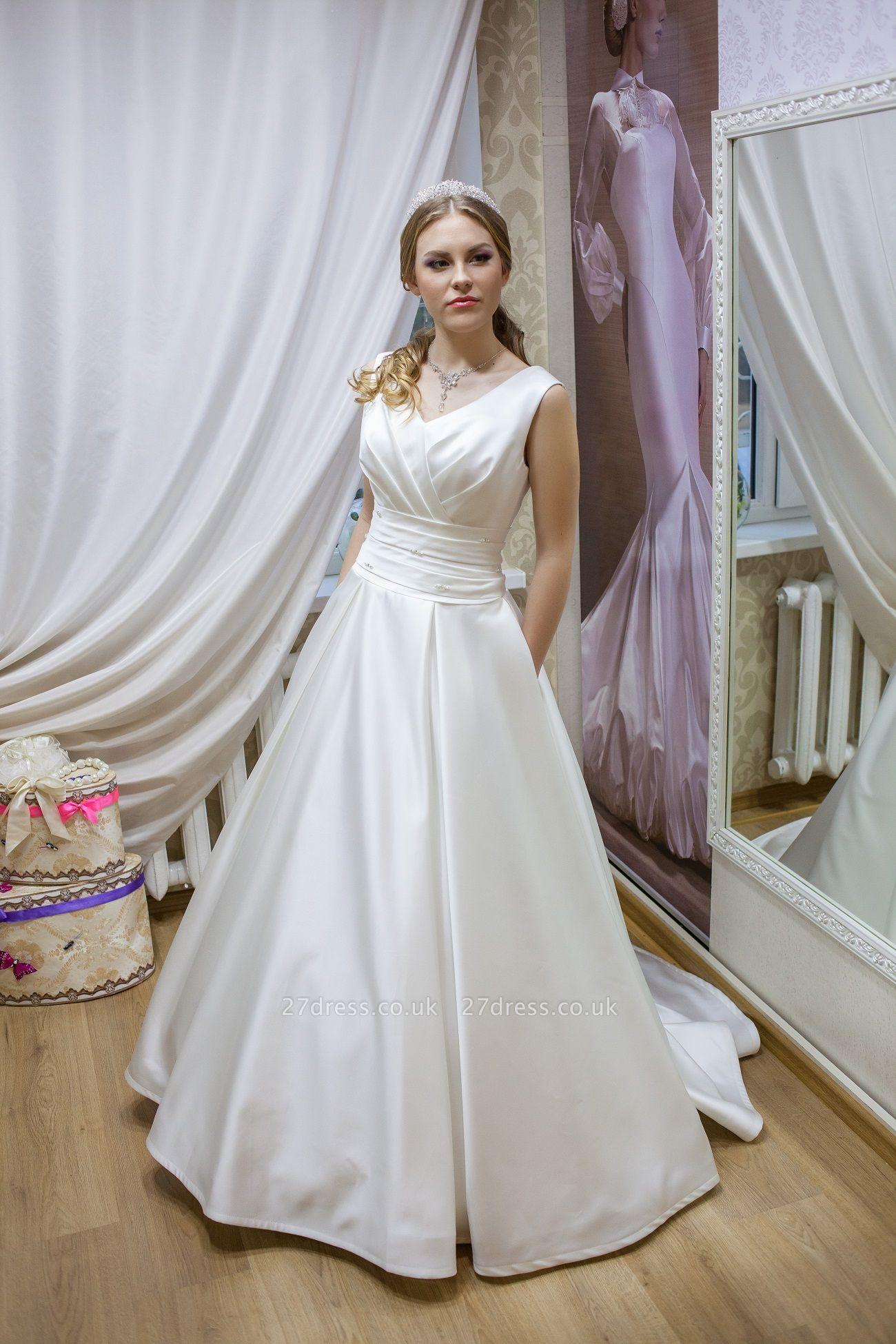 Modern V-neck Sleeveless Wedding Dress Lace-up With Bow