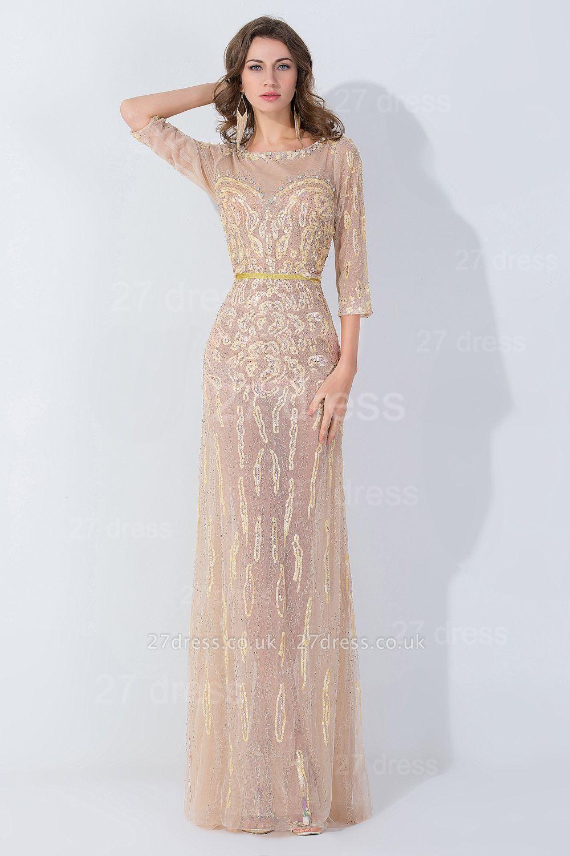 Modern Jewel Long Sleeve Evening Dress UK Floor-length Zipper