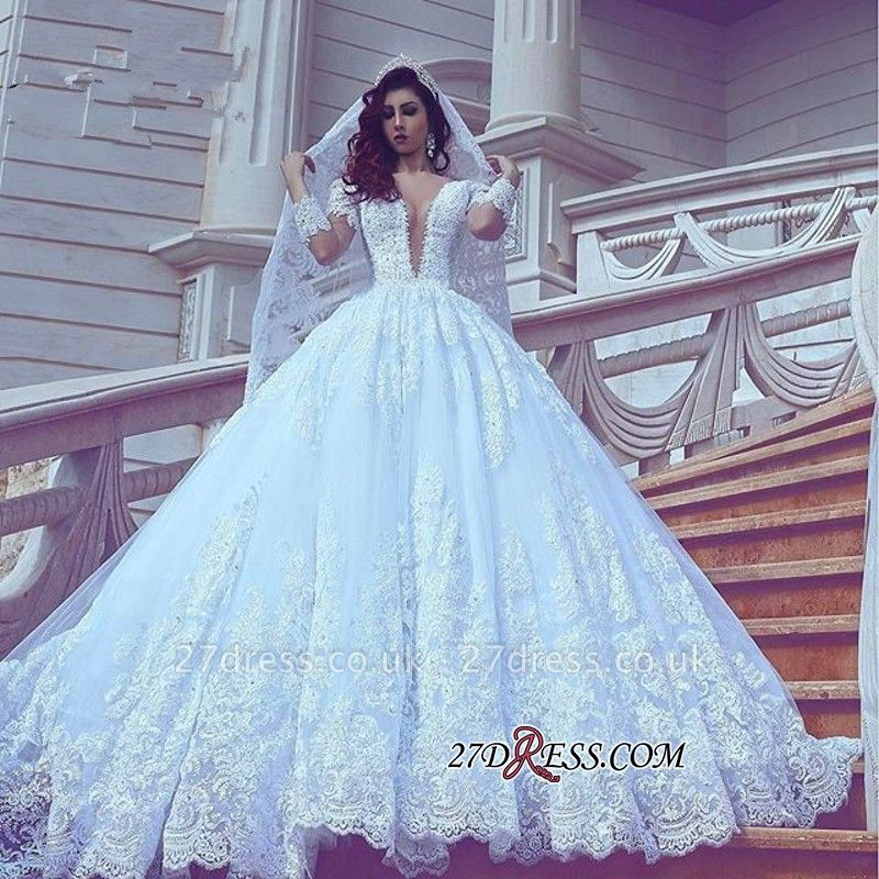 Long-Sleeve Modest Court-Train V-neck Ball-Gown Lace Wedding Dress