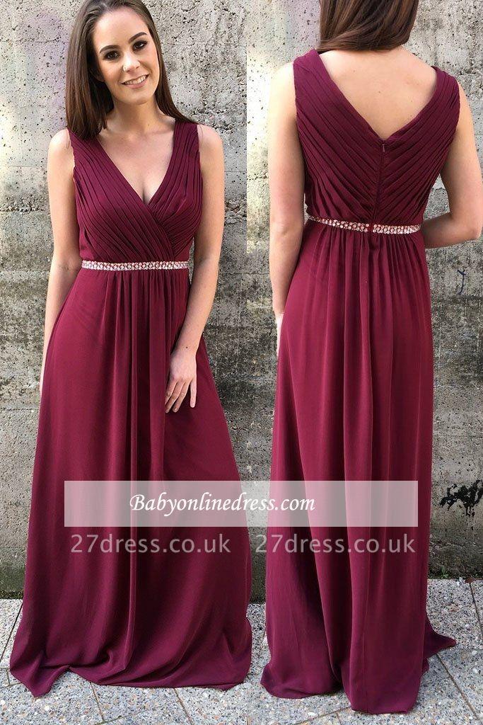 Burgundy prom Dress UK, long chiffon party gowns
