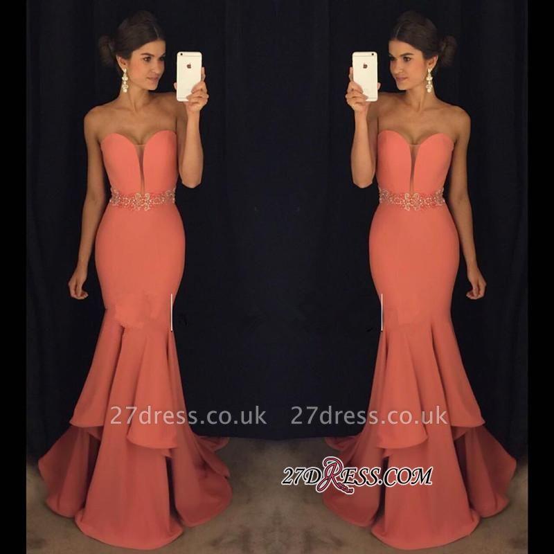 Sweetheart Gorgeous Ruffles Mermaid Beadings Evening Dress UK BA4870