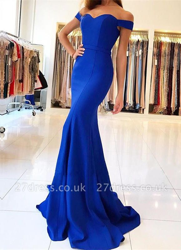 Sexy Royal Blue Evening Dress UK Off-the-Shoulder Long Prom Gowns BA7286