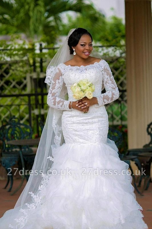 Gorgeous Long Sleeve Plus Size Wedding Dress Sexy Mermaid Lace Appliques With Beads