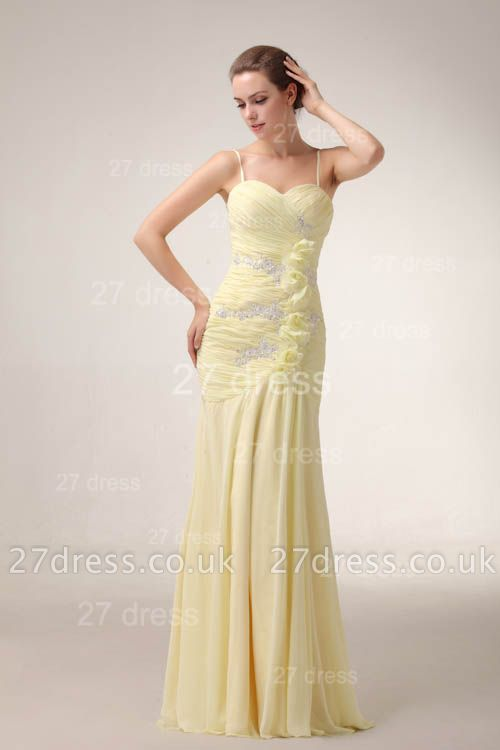 Sexy Yellow Mermaid Evening Dress UKes UK Spaghetti Straps Beadings Prom Gowns