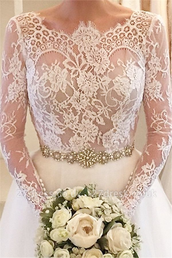 Elegant Illusion Long Sleeve Tulle Wedding Dress With Lace Beadss BA5175