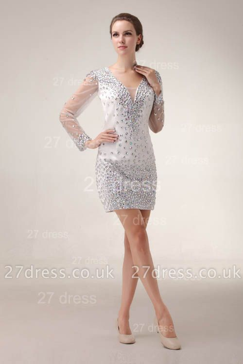 Mini V-Neck Sheath Homecoming Dress UKes UK Long Sleeve Crystal Cocktail Gowns