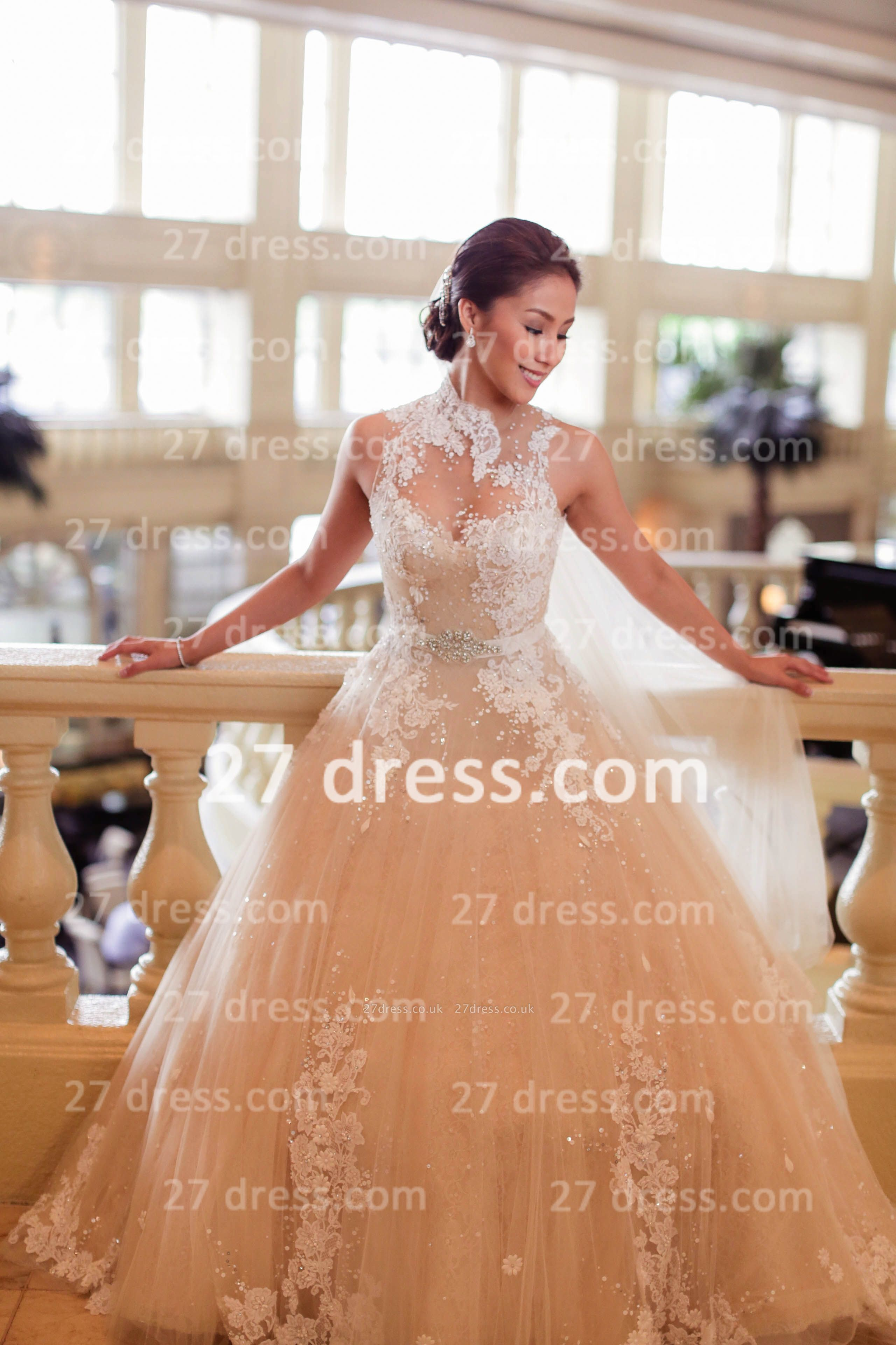 Train A-line Wedding Dresses UK Bridal Gowns with Sheer Cheap Tulle Buttons Sleeveless Applique Beaded Court
