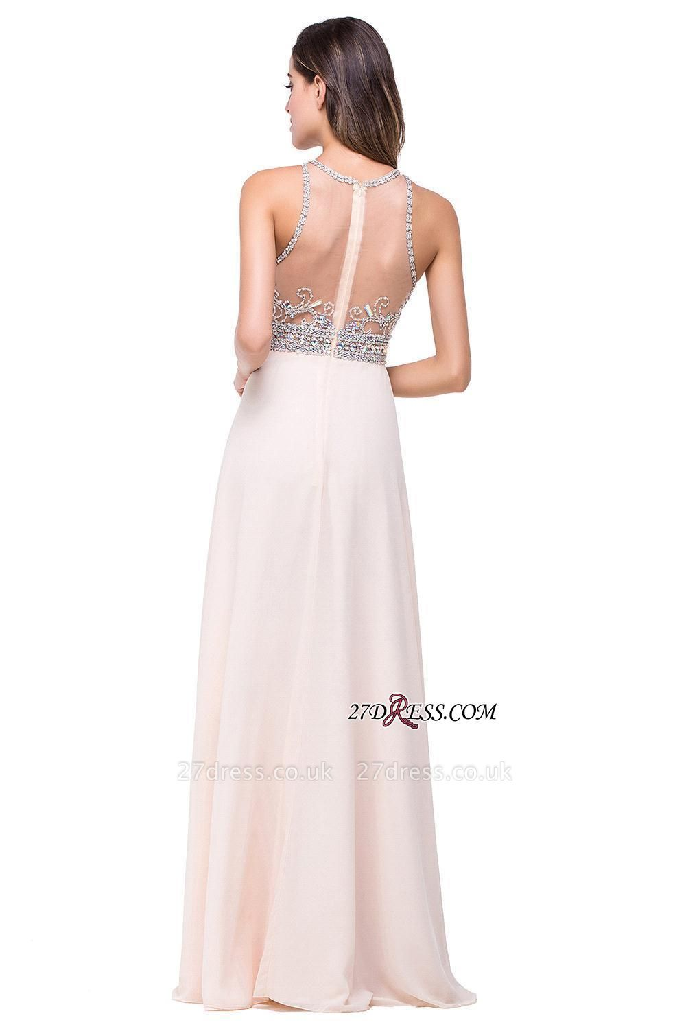 Chiffon Sleeveless Light-Champagne Long Crystals Prom Dress UKes UK BA6131