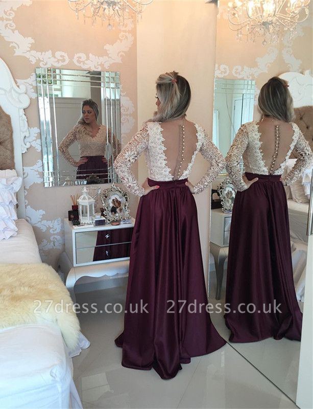 Stunning Long Sleeve Lace Pearls Prom Dress UKes UK Long Party Gowns BT0