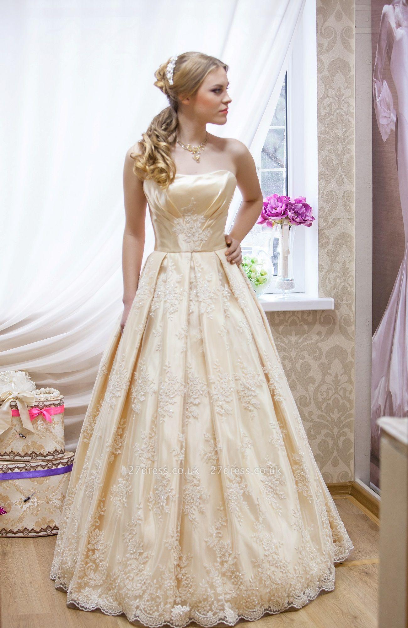 Elegant Strapless Sleeveless Champagne Wedding Dress Floor-length With Appliques