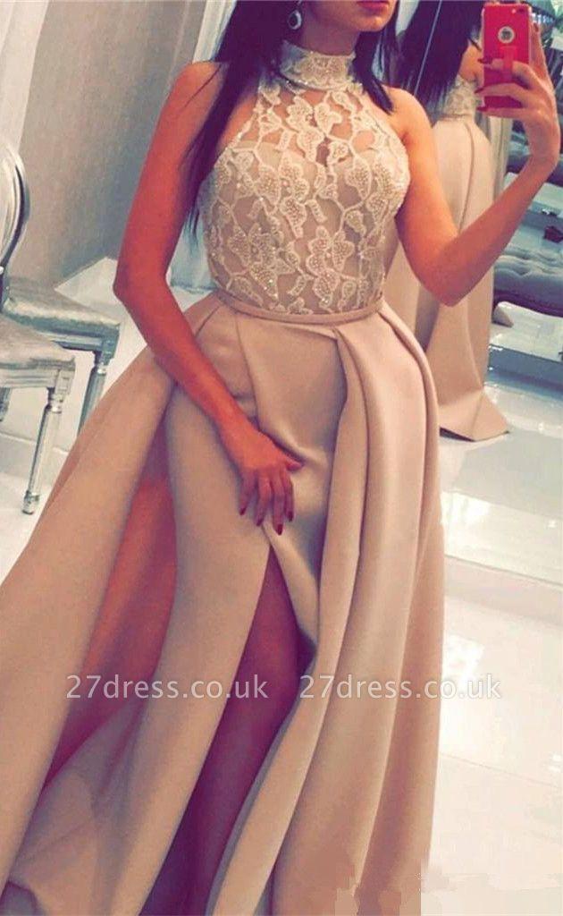 Luxury Halter High Neck Lace Evening Dress UK Slit Ruffles BA6712